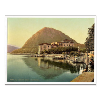 Lugano, the quay, and San Salvatore, Tessin, Switz Postcard