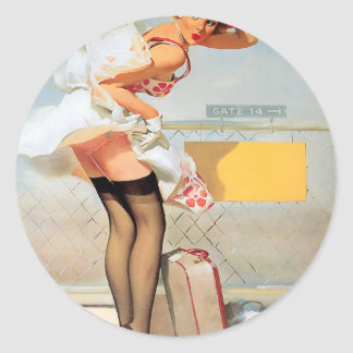 Luggage accident pinup girl round sticker
