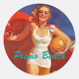 Luggage Stickers travel letters retro beach scene