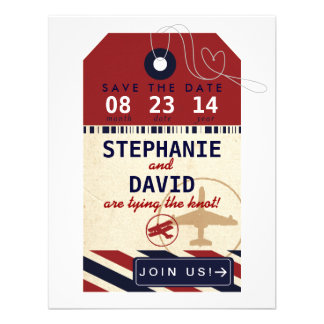 Luggage Tag Airmail Destination Wedding Save Date Custom Announcements