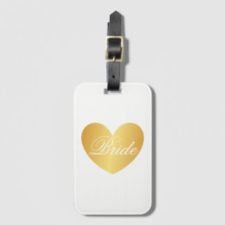 Luggage Tag | Golden Heart Bride White