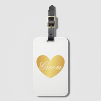 Luggage Tag | Golden Heart Groom White