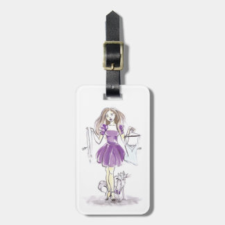 Luggage Tag Illustration Fashion Girl And Cat