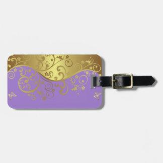 Luggage Tag--Lavender & Gold Swirls Luggage Tag