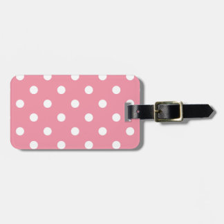 Luggage tag : pink with Dots