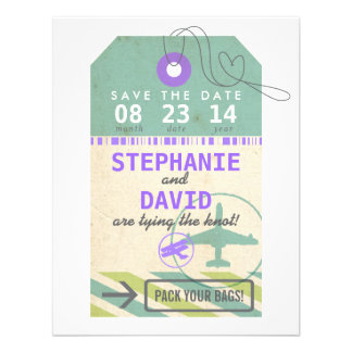 Luggage Tag Vintage Destination Wedding Save Date Personalized Invite