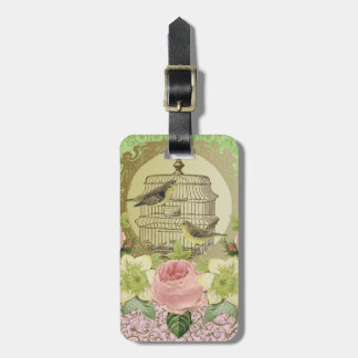 Luggage Tag..Vintage.roses and birdcage Luggage Tag