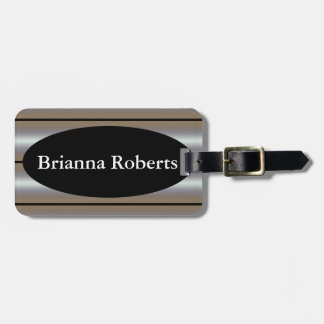 Luggage Tag w/ leather strap - Gradient Stripe