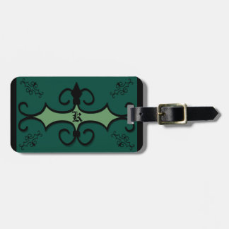 Luggage Tag w/ leather strap IRONWORK SCROLLWORK 3