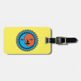 Luggage Tag w/ leather strap MOON SUN REFLECTION
