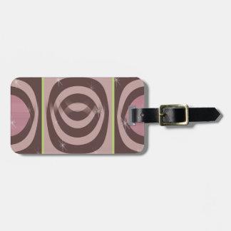 Luggage Tag w/ leather strap RETRO MAUVE PATTERN