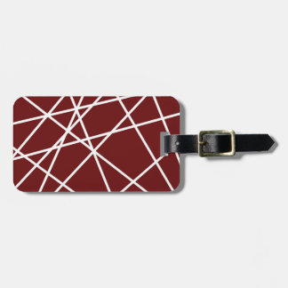 Luggage Tag w/ leather strap WHITE ABSTRACT LINES