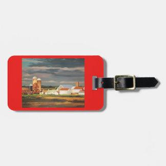 luggage tag with farm scene