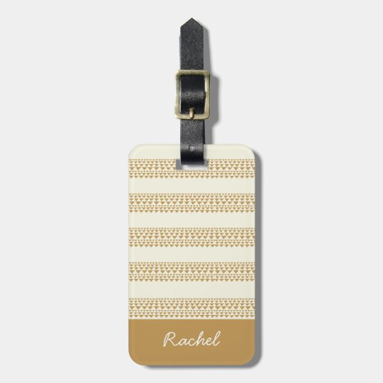 Luggage tag with golden triangles and stripes