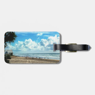 Luggage Tag with Leather Strap Beach.