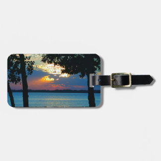 """Luggage Tag with print """"Sunset Ablaze""""."""