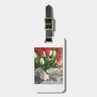 Luggage tag with red and white tulips