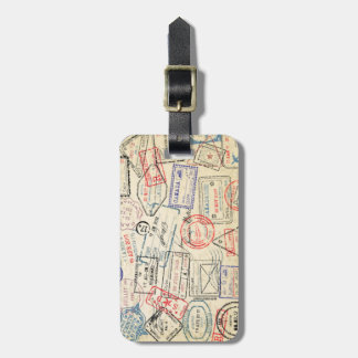 Luggage Tag with Travel Stamps