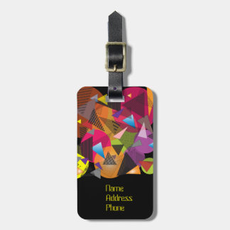 """Luggage Tag with """"Triangles Fruit Cup"""" design."""