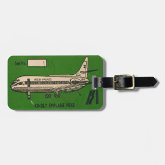 Luggage Tag with Vintage Indian Airline Print