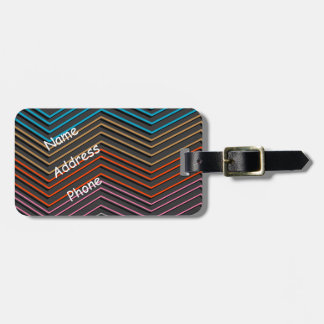 "Luggage Tag with ""Zig Zag Stripes"" design"