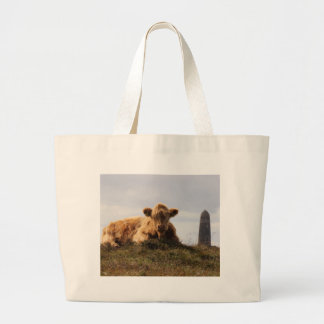 Luing cow on the Isle of Islay, Scotland Large Tote Bag