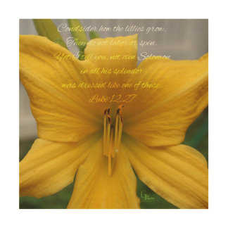 Luke 12:27 Yellow Lily Wood Wall Decor