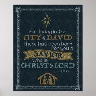 Luke 2:11 Chalkboard Art 16x20 Poster