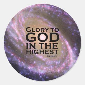 Luke 2:14 classic round sticker