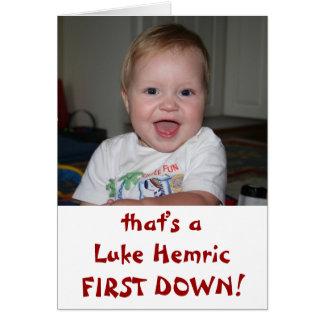 Luke FIRST DOWN! Note Card