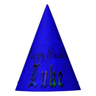 Luke, Happy Birthday Logo Blue Paper Hat. Party Hat