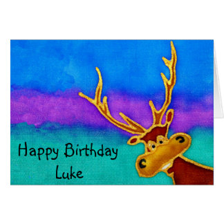 Luke, Happy Birthday silly stag card