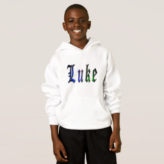 Luke, Name, Logo, Boys White Fleece Hoodie..