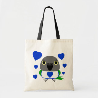 Lulu, the Senegal Parrot, with blue hearts Tote Bag