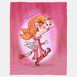 LULU'S  ANGEL CARTOON Fleece Blanket, LARGE
