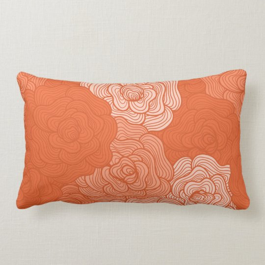 Lumbar Pillow, Floral Doodles Design in Coral Lumbar Pillow