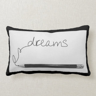 "Lumbar pillow with dreams"" in minimalist design"