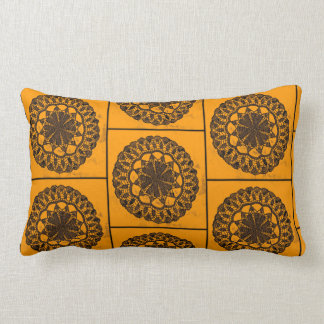 Lumbar support pillow gold/tan with retro pattern