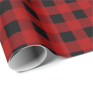 Lumbarjack plaid red black country wrapping paper