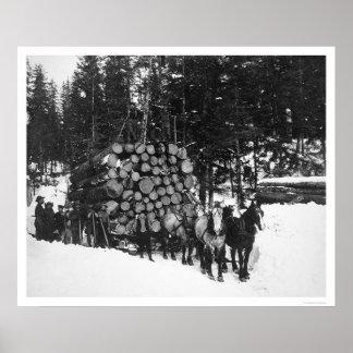Lumber Hauling Seward, Alaska 1919 Poster