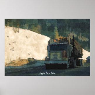 Lumbering Logging Truck Transport Art Poster