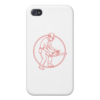 Lumberjack Arborist Chainsaw Circle Mono Line Cases For iPhone 4