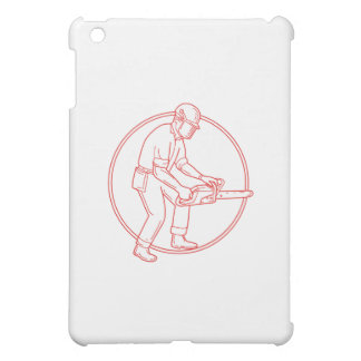 Lumberjack Arborist Chainsaw Circle Mono Line iPad Mini Cases