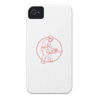 Lumberjack Arborist Chainsaw Circle Mono Line iPhone 4 Cases