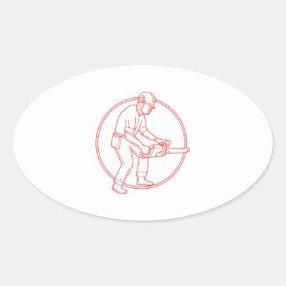 Lumberjack Arborist Chainsaw Circle Mono Line Oval Sticker