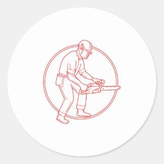 Lumberjack Arborist Chainsaw Circle Mono Line Round Sticker