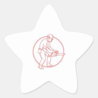 Lumberjack Arborist Chainsaw Circle Mono Line Star Sticker
