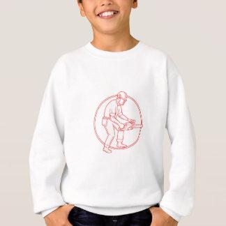 Lumberjack Arborist Chainsaw Circle Mono Line Sweatshirt