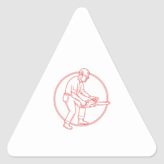 Lumberjack Arborist Chainsaw Circle Mono Line Triangle Sticker
