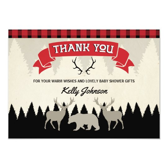 Lumberjack Baby Shower Thank You Card